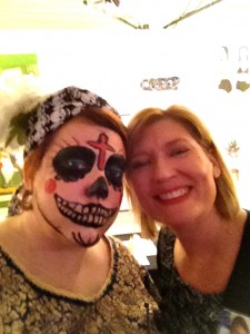 """Kelly Klaasmeyer, on right, and me. I will take any excuse to do Día de los Muertos drag. Even if said get-up occasions some drunk fratty dude to ask me if I'm a Juggalo. True story. I first heard it as """"buffalo,"""" though, which I guess is worse."""