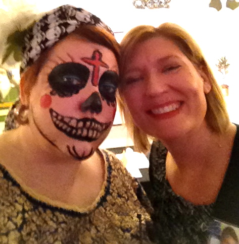 "Kelly Klaasmeyer on right, with me in Día de los Muertos drag. A drunk fratty guy asked me if I was a ""Mexican juggalo."" I at first heard ""buffalo,"" I don't know which is worse."
