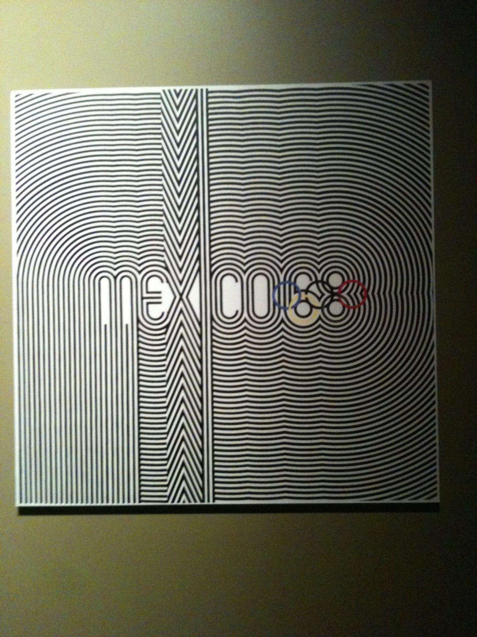 Poster for 1968 Olympics in Mexico, on view in commemorative exhibition at UNAM art museum in Tlateloco