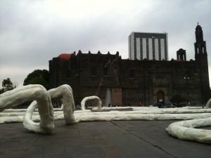 Plaza de las Tres Culturas, with site-specific installation Raíces by José Rivelino snaking through the plaza