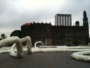 Plaza de las Tres Culturas, with site-specific installation Raíces by José Rivelino snaking through the plaza