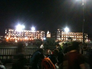Zócalo plaza lit up at night.  Sometimes I have a hard time believing that I actually live here.