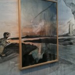 Paint and charcoal on canvas and directly on the wall