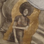 Robert Pruitt, Mama (detail), conte, charcoal and gold leaf on hand-dyed paper, 60 x 70 inches, 2011