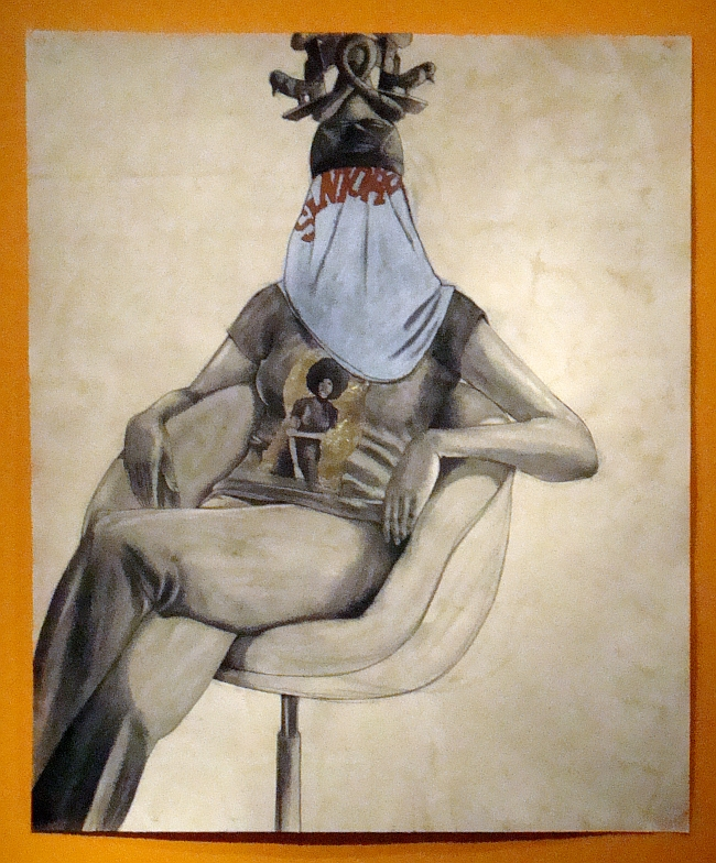 Robert Pruitt, Mama, conte, charcoal and gold leaf on hand-dyed paper, 60 x 70 inches, 2011
