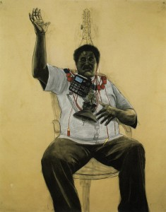 Robert Pruitt, Oba, conte and charcoal on hand-dyed paper, 60 x 70 inches, 2011