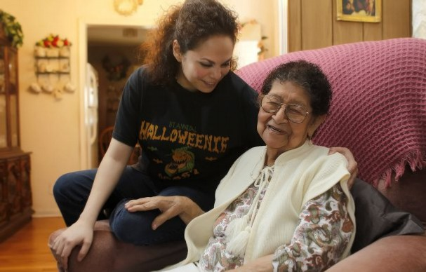 A still from the film, of Perez and her grandma.