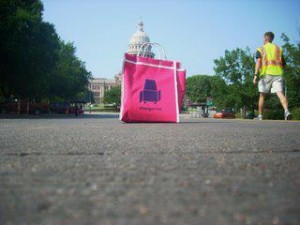 The Texas Capitol inside one of the first iterations of the Changarrito bag.  Photo taken in 2008 when the Changarrito project was first taken to Austin