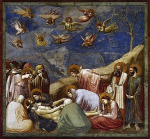 """Look, dummies, they killed Jesus and it was sad. GET IT?"" Giotto's ""Lamentation (the Mourning of Christ)."""