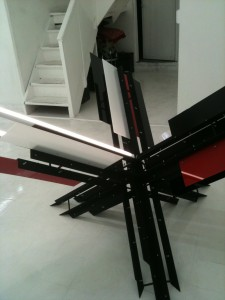Barricada Suprematista I, 2012; Steel, acrylic and flourescent lights; 71x55x42 inches approx.