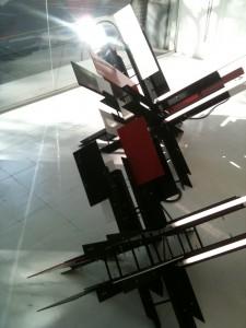 Barricada Suprematista II and Barricada Suprematista III, 2012; Steel, acrylic and flourescent lights; 59x47x35 and 47x39x28 inches respectively