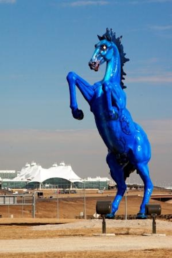 """Mustang,"" a 32-foot tall, 9000 lb. cast fiberglass sculpture at Denver International Airport."