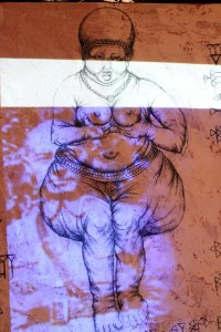 Still of a scrim/drawing onto which a video ids projected.