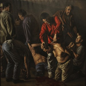 """Se Los Cargo La Chingada (Beheading)"" oil on linen 7ft by 7ft"
