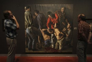 """Se Los Cargo La Chingada (Beheading)"" tr. ""They Carried them to Hell""  oil on linen 7ft by 7ft"