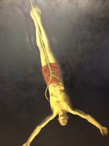 "An older painting from a reckoning time, to which Gonzalez refers as ""An Atheist Crucifixion.""  He adds, ""But like most atheists, I was obsessed with God."""