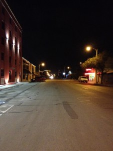I was standing in the middle of the street. I did have to eventually make way for one lone truck.