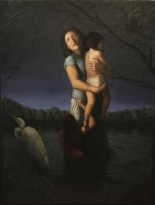 """""""La Llorona,"""" oil on linen 6ft by 5 ft. The models are Alina Gonzalez, and the Gonzalez's two nieces"""