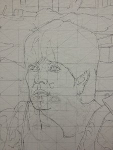 Detail of underdrawing using a superimposed grid of a Gonzalez work in progress documenting a border crossing.