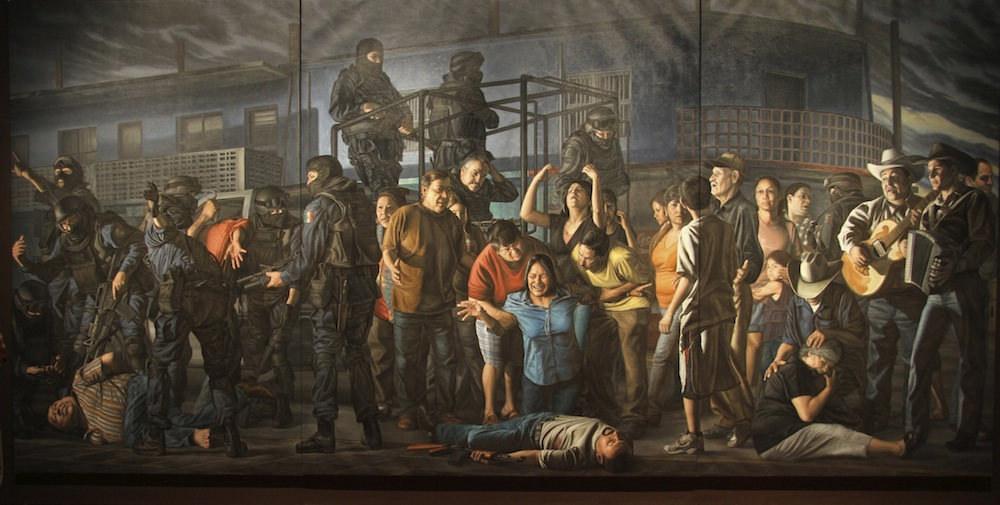 """El Dia 17 de Febrero del 2009 en Reynosa, Tamaulipas, Mexico (On the 17th of February of 2009 in Reynosa, Tamaulipas, Mexico)"" oil on linen, 9ft 8in by 20ft, 2010"