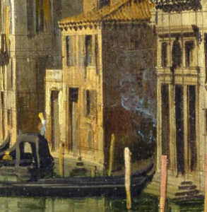 """""""Arsonist in Venice"""", from Canaletto's Entrance to the Grand Canal, Venice (c. 1730)"""
