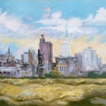 Dallas Skyline, 1952 George Grosz, German. Oil on canvas Image dimensions: 19 1/2 x 29 1/2 in. (49.53 x 74.93 cm) Dallas Museum of Art, gift of A. Harris and Company in memory of Leon A. Harris, Sr.  Estate of George Grosz/Licensed by VAGA, New York, NY.