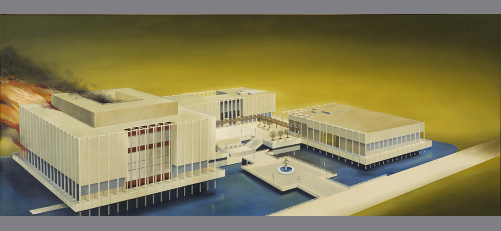 Los Angeles County Museum of Art on Fire (1965-68), Ed Ruscha, Oil on canvas 53 x 133 in Hirshhorn Museum and Sculpture Garden, Smithsonian Institution, Washington, D.C., Gift of Joseph H. Hirshhorn, 1972, Photography by Lee Stalsworth  Ed Ruscha