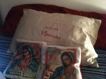 My current bed, Virgin pillows, Ethel Shipton piece, Mexico City, 2012