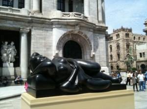 Botero sculpture in front of Palacio de Bellas Artes in conjunction with Botero Retrospective, Mexico City