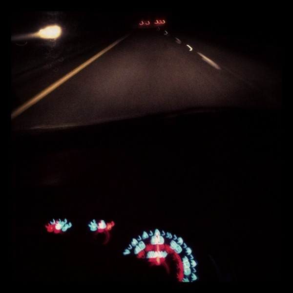 Interior of my car, taken accidentally while trying to consult Google Maps. Falfurrias, Brooks County.