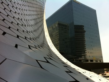 Detail of the exterior of the Soumaya building