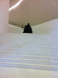 Partial view of the grand staircase of the Soumaya with Michelangelo's Pieta situated in a break in the stairs