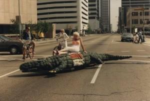 Jackie Harris riding the Gator, 1988