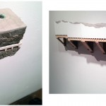 "Emily Stergar, (L) ""Land Sample XVII"" and ""Man-Made Land,"" wood, sheet rock, cast concrete, foam, wire mesh, copper, floor leveler."