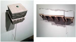 "Emily Stergar, (L) ""Land Sample XVII"" and ""Man-Made Land,"" wood, sheet rock, cast concrete, foam, wire mesh, copper, floor leveler."