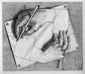 hand drawing hand escher