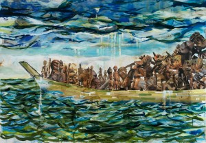 "Radcliffe Bailey ""Western Current"" 2010.Watercolor, collage and mixed media. The Hobdy Collection in memory of Walter Hobdy, Jr."