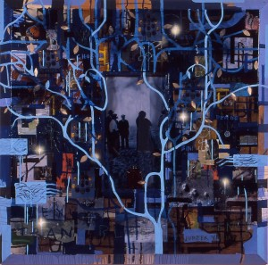 "Radcliffe Bailey, ""Transbluency,"" 1999. Acrylic, photograph, Plexiglas, oil stick, collage, resin, and glitter on wood. Collection of Betsy Beaman and Burn Sears, Atlanta."