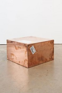 WALEAD BESHTY, 20-inch Copper (FedEx® Medium Kraft Box ©2004 FEDEX 155143 REV), Standard Overnight, Los Angeles-New York trk#798399701913, May 15-16, 2012, 2012, Polished copper, accrued FedEx shipping and tracking labels, 20 x 20 x 12 in. (50.8 x 50.8 x 30.5 cm). Courtesy James Cohan Gallery.
