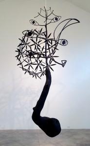"""James Surls, """"Seattle Speaks,"""" burned oak and steel, 2012."""
