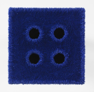 Donald Moffett, Lot 051912 (the cobalt quad), 2012, Oil on linen with wood panel support with cast iron flanges, common black pipe, and hardware, 19 x 19 x 21.25 inches (48.3 x 48.3 x 54 cm