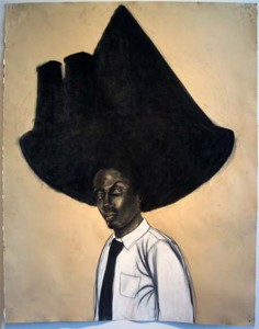 "Robert Pruitt, ""Stone Cut,"" 2011 conte and charcoal on hand-dyed paper, 50 x 38 in"