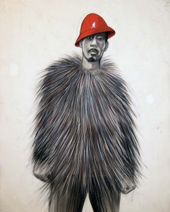 """Robert Pruitt, """"Stunning Like My Daddy,"""" 2011 conte, charcoal and pastel on hand-dyed paper, 50 x 38 in"""