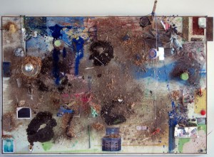 "Jeff DeGolier, ""Spirit Lake,"" paint, c-prints, floor debris, string, glue, t-shirt, wood, postcard, etc. on panel. 50""x75""x13"". 2012"