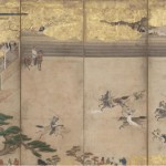Japanese, Folding Screen with Equestrian Archery Drills (one of a pair), early 17th century, color and gold leaf on paper, the Kimiko and John Powers Collection of Japanese Art.