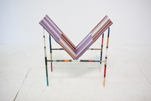 Andy Coolquitt, chair w/ paintings, 2011, metal, fabric, wood, courtesy Lisa Cooley, New York