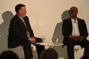 Steven Evans (left) in conversation with artist Glenn Ligon