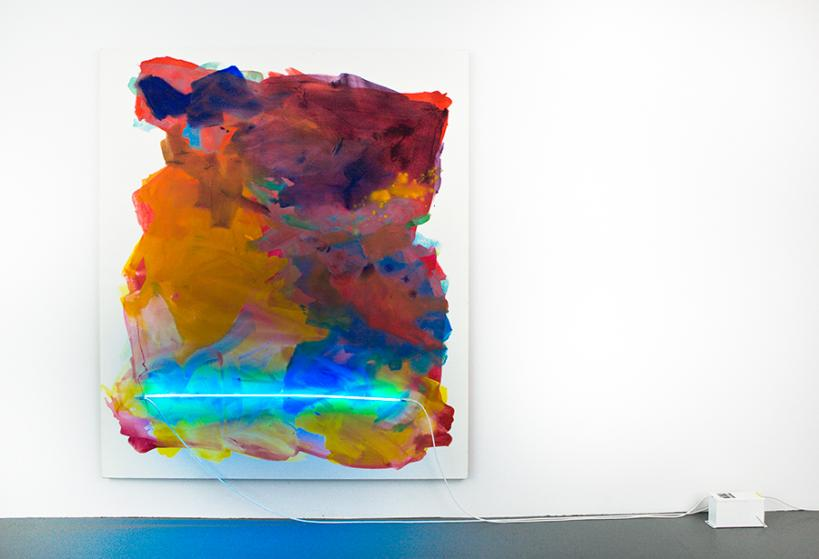 """Mary Weatherford, """"Chinatown"""", 2012, Flashe and neon on linen 93 x 79 inches"""