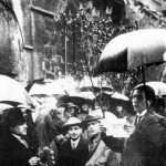 "Tristan Tzara reads to the crowd at a ""Dada excursion"" at St. Julien le Pauvre church, 1921, Paris"