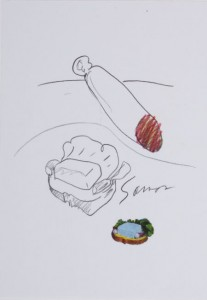 CLAES OLDENBURG (American, b. 1929), Sausage-end and sandwich, Samos, Paris, 1964/1972, Color offset lithograph with transparent acetate sheet, 6 x 4 inches (15.2 x 10.2 cm)